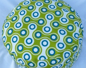"""Sale - 20% off all items. Ottoman floor pillow cover in white, green & blue.  Outdoor round floor pouf cushion cover is 11"""" tall, diameter 1"""
