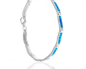 Blue Opal Sterling Silver Bracelet with Delicate Rectangular Links