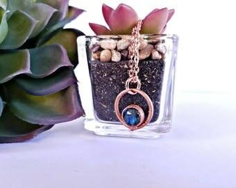 Copper Electroformed Labradorite Crystal Necklace
