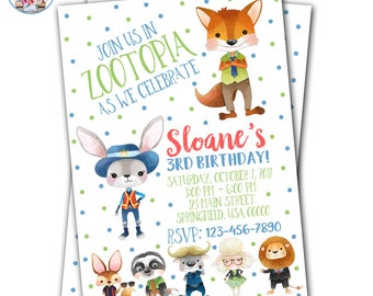 Zootopia Invitation, Zootopia Birthday, Zootopia Birthday Invitation, Zootopia Party, Zootopia Invite
