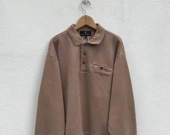 BIG SALE Vintage Claudio Valentino Paris Poket Sweatshirt/Claudio Valentino Sweater/Claudio Valentino Embroidery Logo/Pullover