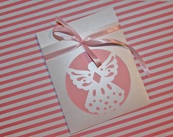 "Envelope for baptism or communion in white iridescent paper ""Angel"""