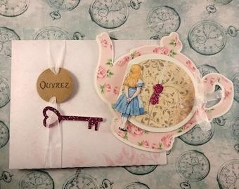 Wedding invitation Alice in wonderland, Alice in Wonderland with envelope