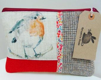 Handmade Robin Makeup Bag, Winter Birds Clutch Bag, Garden Bird with Harris Tweed Pouch