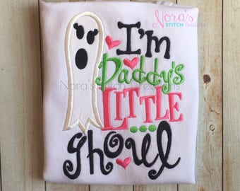 Little Girl's Halloween shirt, I'm Daddy's Little Ghoul, Daddy's Little Girl Halloween top, Girl's Halloween saying for toddlers