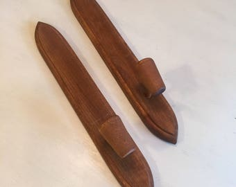 Pair of Mid Century Modern Hanging Wood Candleholders