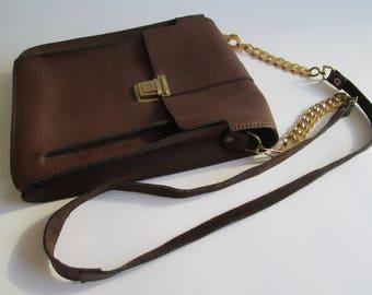 Vintage Brown Leather Messenger Bag