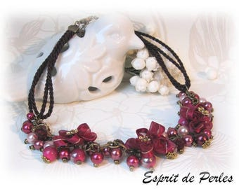 Designer necklace Burgundy and pink watercolor 'Subtle fabrics' Chic