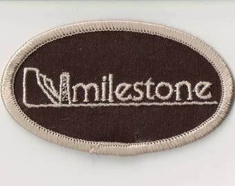 Vintage Embroidered Patch ~ Milestone --  Oil Derrick  - Oil Company Patch