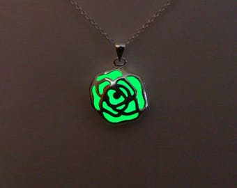 Rose Necklace - Green Flower Pendant - Glowing Jewelry - Glow in the Dark - Gifts for Her - Bridesmaid Gifts - Mothers Day Gift - Valentines