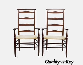 Pair of No. 5 Shawl Back Shaker Wood Arm Chairs Ladderback Armchairs Mahogany A
