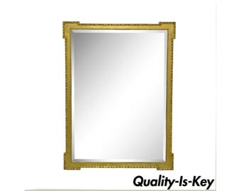 Vintage Friedman Brothers Gold Wood Frame French Beveled Glass Wall Mirror 40 x 30