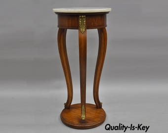 """Weiman Wood & Marble Top French Regency Styl Pedestal Plant Stand Table 33""""H Vintage"""