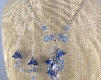 Lucite flower, Flower necklace, Jewellery set, Jewellery, Lucite jewellery, Earrings, Blue, Hand Painted, Boho, Bohemian, Crystal, OOAK,