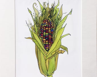 You Are A-Maize-Ing 8x10 Archival Print Matted 11x14 Corn or Maize Watercolor Painting