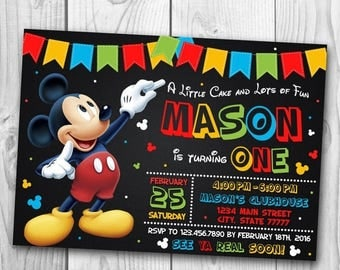 Mickey Mouse Invitation - Mickey Mouse Birthday Invitation -  Mickey Mouse Birthday Party - Mickey Mouse Printables