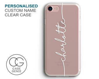 Personalised Handwritten Name Clear Phone Case for iPhone X 8 Plus 7, 6, 6s Cell Phone Cover Clear and Frosted Transparent Custom SHL