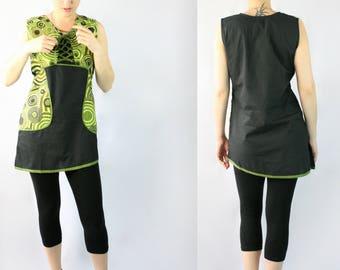 Geometric Print Green Black Asymmetric Hem Tunic