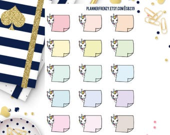 15 Peeking Diamond the Unicorn (Left) Post It Note Planner Stickers! Colorful or Neutral!