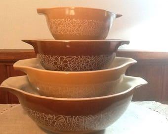 NOS, Pyrex, Woodland Brown, Cinderella Style, 4 piece, Serving / Mixing bowls, 441, 442, 443, 444, brown, tan, white,