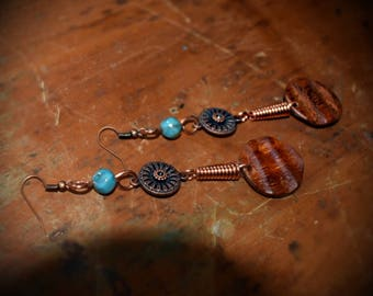 Copper and wood Earrings