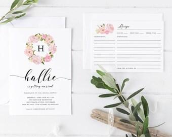 Printable Bridal Shower Invitation, Pink Rose Wreath Bridal Shower Invitation with Matching Recipe Card