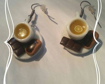 "Earring made fimo ""tea, toast and chocolate bar"""