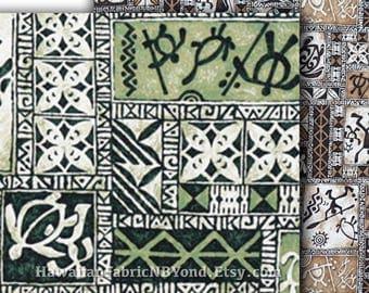 Hawaiian Petroglyph Fabric Tapa Turtle Spear Head Warriors, Brown Green Cotton HCN10123/HCN10194, Ask for bulk