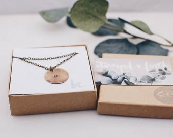 Be. Long Brass Circle Necklace