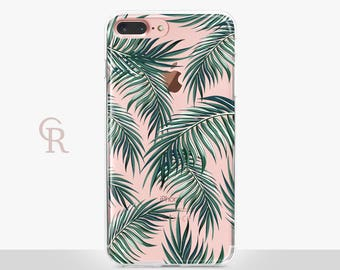 Palm Leaves iPhone 6 Case - Clear Case - For iPhone 8 - iPhone X - iPhone 7 Plus - iPhone 6 - iPhone 6S - iPhone SE Transparent - Samsung S8