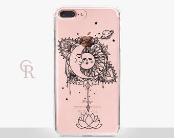 Sun Moon Phone Case - Clear Case - For iPhone 8 - iPhone X - iPhone 7 Plus - iPhone 6 - iPhone 6S - iPhone SE Transparent - Samsung S8 Plus