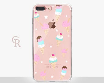 Ice cream Clear Phone Case For iPhone 8 iPhone 8 Plus iPhone X Phone 7 Plus iPhone 6 iPhone 6S  iPhone SE Samsung S8 iPhone 5 Transparent