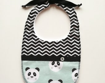 Baby Bib a fantasy panda with turquoise background