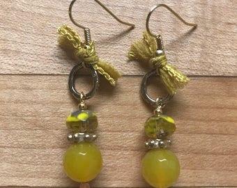 Shabby chic yellow tie earrings