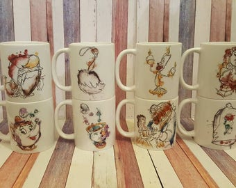 Beauty and the beast watercolour individual mugs belle and beast, enchanted rose, Mrs Potts, chip, lumiere, Cogsworth, sultan, Plumette, mug
