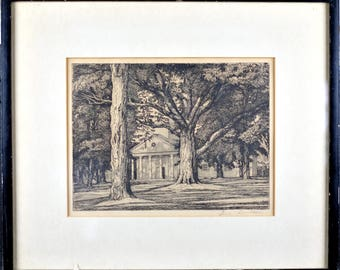 """Antique Luigi Lucioni Pencil Signed Etching """"Shadow and Substance"""" 1943"""