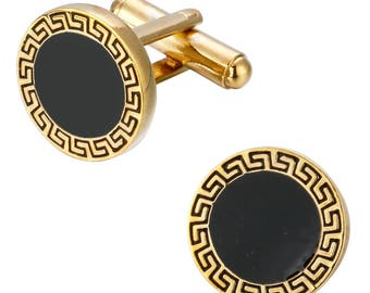 Versace Logo Cufflinks Men Jewelry in Yellow Gold Plated