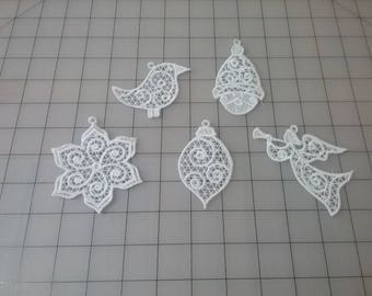 Christmas Lace Ornaments, Machine Embroidered  Free Standing Lace,  Set of Five Designs