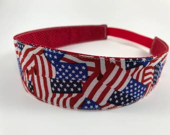 American Handmade Fabric Headband, Adult Headband Woman, Womens Headband, Reversible Fabric Headband For Women, Flag Headband