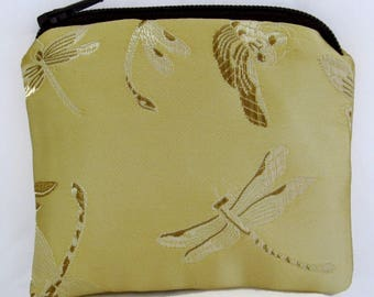 Small Gold and Brown Dragonfly Print Brocade and Satin Coinpurse Coin Purse Pendulum Crystals Zipper Bag Pouch Fancy