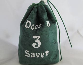 Dice Bag Pouch Velvet Dungeons and Dragons D&D RPG Role Playing Die Green Does a 3 Save? Reversible Lined