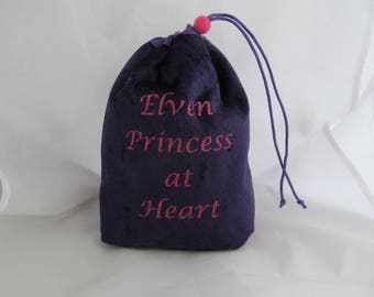 Dice Bag Pouch Velvet Dungeons and Dragons D&D RPG Role Playing Die Purple Elven Princess at Heart Reversible Lined