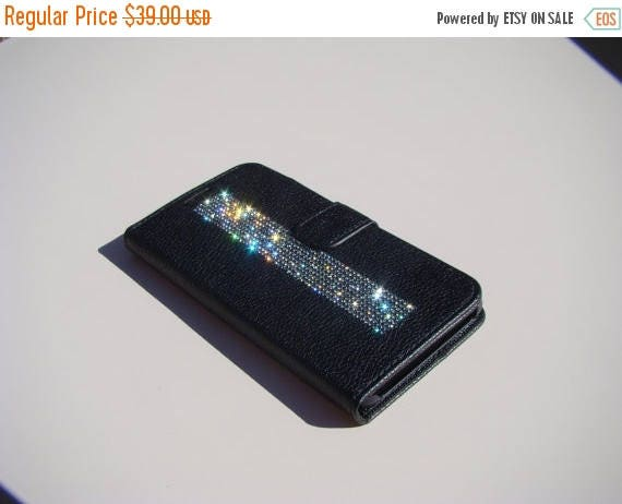 "Sale Galaxy S6  "" Edge Plus"" Black Rhinestone Crystals on Black Wallet Case. Velvet/Silk Pouch bag Included, Genuine Rangsee Crystal Cases."