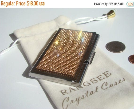 Sale Business Card / Sewing Needle Case Case Rose Gold Rhinestone Crystals, Card Case , Needle Case, Business Card holder.