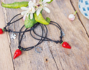 Good luck bracelet with Chili-ideal gift for her, friends