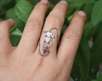 Monkey Ring - Playing Monkey Ring - Monkey And Leaf Ring - Copper Animal Ring - Monkey Lover Ring - Monkey Silhouette Ring
