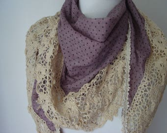 Women Scarf, Triangle scarf, Purple Scarfs, Lace scarf, Cotton Scarf, Spring scarf, Accessories summer, Unique Scarf, Scarves for women,