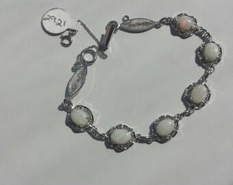 Opal Filigree Sterling Silver Bracelet, Sterling Bracelet, October Birthstone