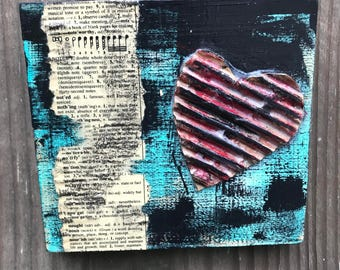 "Lovenotes... 5x5"" mixed media on wood"