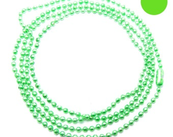 NECKLACE is 70cm ball chain 2mm Apple green